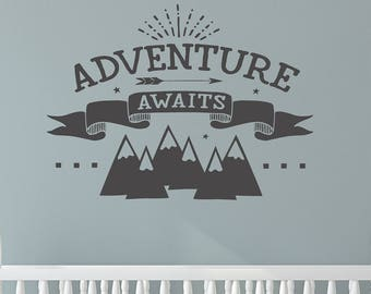 Adventure Wall Decal, Nursery Decor, Adventure Wall Quote, Adventure Awaits, Mountain Wall Decal, Kid's Room Decor