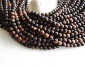 Tiger ebony wood round wood beads , Kamagong Camagong , Light to Dark brown , Philippines, boho Natural exotic 8mm ( 16 inch strd ) 6PH26