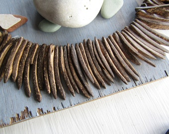 brown coconut beads sticks spike , natural  raw exotic triangle shape  40 to 50 mm long (50 beads) 6PH