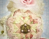 Quilted and Beaded Pink Shabby Chic Victorian Ornament