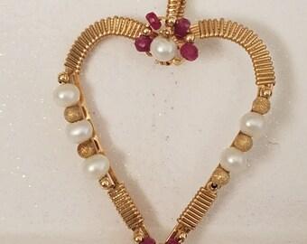 4202  Pearl, Ruby Heart Pendant