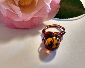 Reclaimed Upcycled Boho Chic Vintage Glass Bead Amber Colored with Leaf Inclusions Wire Wrapped Ring Size 7 Copper Color Statement Ring