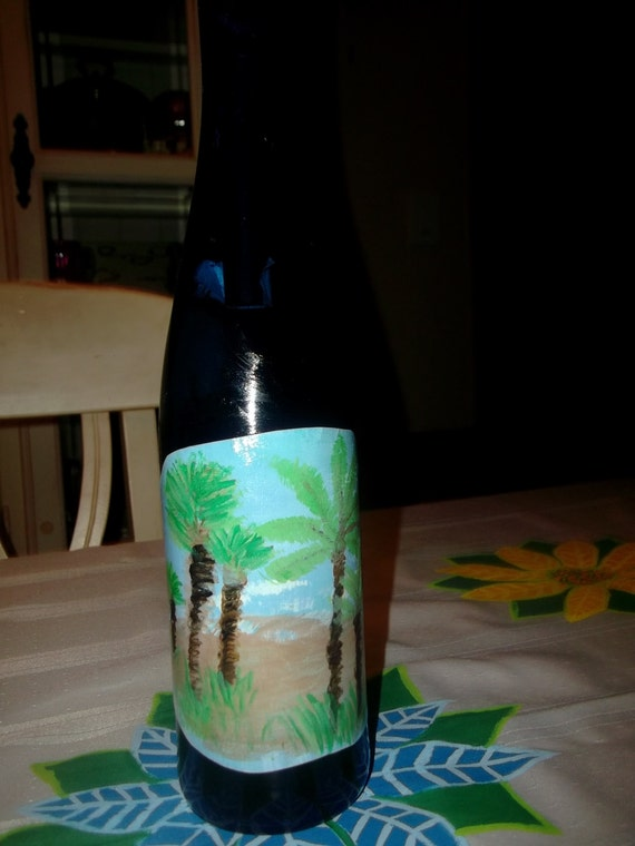 Serene Ocean Beach Palm Trees Hand Painted Label on Recycled Blue Wine Bottle Unisex Housewarming Garden Spring Summer Party Favor