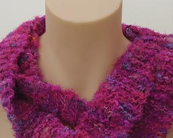 Pink sari silk scarf -  knitted loop scarf - silk cowl