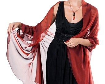 Venetian Red Evening  Silk Chiffon Stole/ Wrap/ Shawl with semi-sleeves