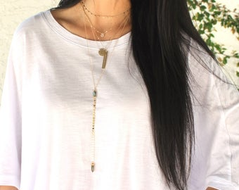 Long Necklace Lariat Long Pendant Necklace/ Long Layering Necklace Gemstone Necklace Lariat Long Gold Necklace Long Stone Necklace