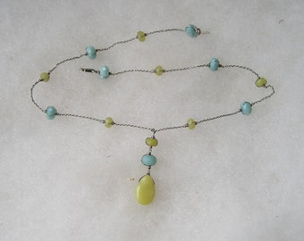 Lovely Sterling Silver 925 Blue Yellow Chalcedony Necklace