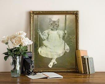 Cat Art - Cat Print - Cat Decor - Cat Artwork - Pet Memorial - Gift for Her - Nursery Decor - Cat Gift - Wall Art - Wall Decor - Mothers Day