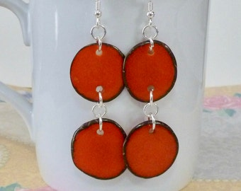 Tagua Earrings - Tagua Nut Slice Hanging Sterling Silver Earrings - Orange Tagua Nut Earrings - Orange Tagua Earrings - Tagua Nut Jewelry