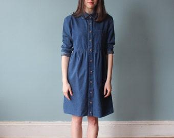 vintage 90s denim dress | long sleeve denim babydoll dress | xs-small