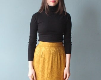 gold brocade skirt | marigold floral pencil skirt | 90s medium
