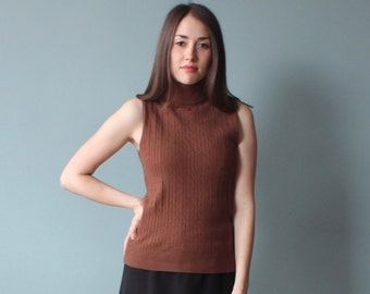 brown sleeveless turtleneck | 90s cable knit turtleneck | medium
