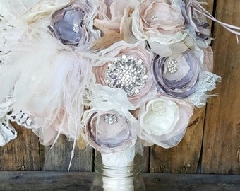 Feather bouquet,Fabric Bridal Bouquet, Elegant bridal bouquet, Gatsby themed wedding, Brooch Bouquet, Vintage bouquet,bridal flowers