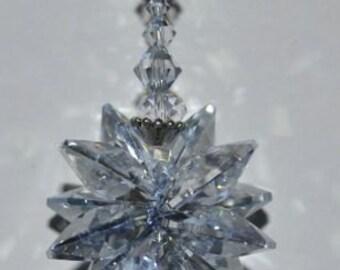 "8"" Long Crystal Blue Starburst Star, Swarovski Crystal Rainbow Rearview Window Car Charm Suncatcher, Hanging Crystal, Rainbow Cluster"