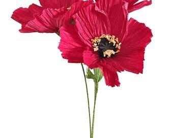 Oriental Poppy—Handmade Crepe Paper Flower
