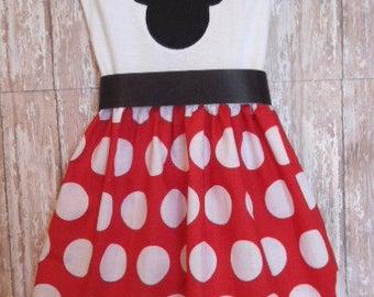 Minnie Mouse Dress, Disney Dress, Girls Red White Dot Dress, Birthday Dress, Girls Dress, Ready To Ship, Size 6-12M