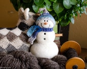 Needle Felt Snowman - Needle Felted Snowman - Christmas Snowman - Christmas Decoration - Christmas Decor -  Wool Snowman - Winter Décor -843