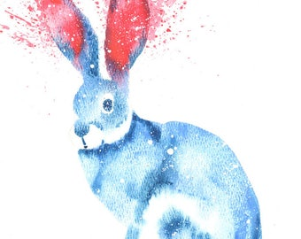 Rabbit ORIGINAL Watercolor, Galaxy Spirit Totem Animal 9X12
