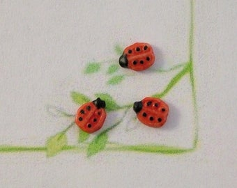 Tiny Lady Bug Embellishment set of 3