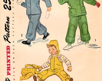 1940s Simplicity 2630 Vintage Sewing Pattern Toddler Snowsuit and Hat Size 2