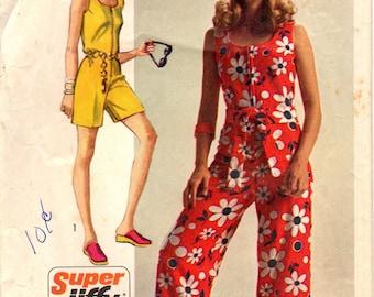 1970s Simplicity 8787 Vintage Sewing Pattern Misses Short Jumpsuit, Long Jumpsuit Size 12 Bust 34, Size 14 Bust 36