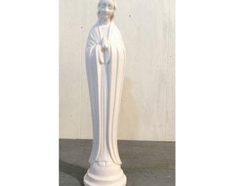 vintage praying Mary sculpture - white ceramic Holy Mother figurine - Catholic icon statue