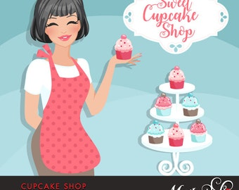 Cupcake Shop Owner Avatar. Brunette woman holding a cupcake, Sweet Cupcake shop frame. Character Graphic, BAKE SHOP, baking clipart, pink