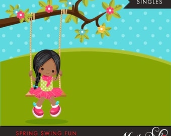Spring Clipart. Dark Skin girl playing, swing, spring trees, graphics, outdoor, easter, card making, scrapbooking, commercial use
