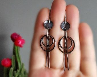 Quirky Copper & Sterling Silver Earrings, Fun Art Earrings, Women's Mixed Metal Earrings, OOAK Jewellery, Original Metalwork Earrings