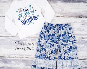 Baby Girl Christmas Outfit, Toddler Girl Clothes, Top and Ruffle Pants Set Tis the Season to Sparkle, snowflakes blue silver glitter