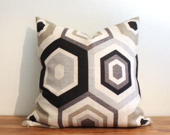"22"" GROUNDWORKS Hexagon Tile Shell Linen Pillow Cover in Neutral Grays and Black"