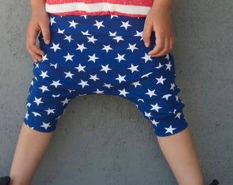 Ready to Ship! Baby Harem SHORTS or PANTS Blue and White Stars, American Flag, 4th of July Harem Shorts, Toddler Boy, 4th of July Outfit