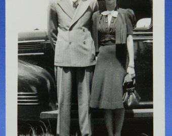 Newly Married Well Dressed Couple ID'd Vintage Fashion 1940's Photo Snapshot 15972