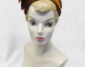 1950s Vintage Golden  Brown Velvet Cocktail Hat with Aurora Borealis Rhinestones