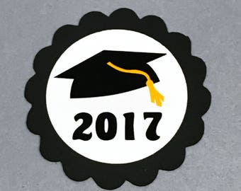 Graduation Favor Tags, 2017, Black and White or Choice of Colors