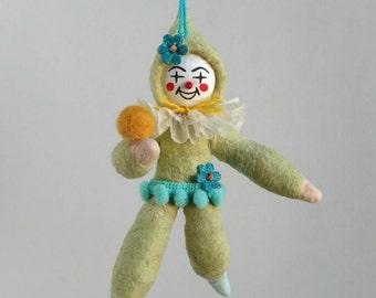 Spun Cotton Ornament, Cotton batting doll, green clown, PlumPuppets