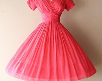 Vintage 1950's Shocking Pink Cotton Dress By Miss Elliette ~ Vintage 50s Miss Elliette Full Skirt Pink Party Dress
