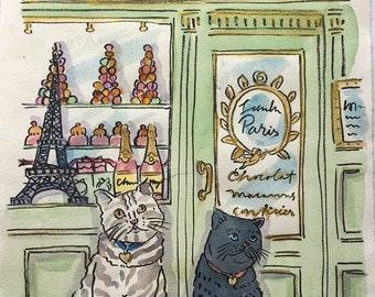 Custom portrait of your Pet in Paris in watercolor 8.25 x 11 inches