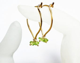 Peridot Gold Hoop Earrings, Lotus Gemstone Ear Wires, Medium or Large