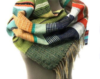 Ramona | Woven Greenery & Tangerine Striped Scarf | Modern Boho Weaving | Stylish Handwoven Heirloom Gifts | Loomed Unisex Accessories | H80