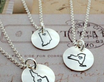 Graduation Gifts - MINI Home State Necklace - Home Is Where Your Heart Is Collection - Custom State Necklace by Eclectic Wendy Designs