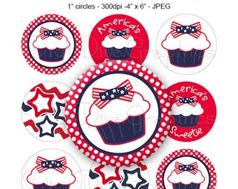 4th of July Cupcake Bottle Cap Digital Art Collage Set 1 Inch Circle America's Sweetie Girl Tags - Instant Download - BC1172