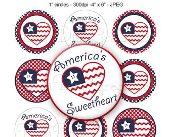 America's Sweetheart Bottle Cap Digital Art Collage Set 1 Inch Circle 4th of July Independence Day Tags - Instant Download - BC1173