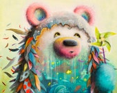 Print - Bear - Pinwheel - Surreal - Fish - Whale - Cute - Ocean - Animals