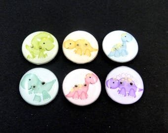 Dinosaur Buttons.  Set of 6 different handmade decorative novelty craft dinosaur buttons. Choose Your Size.