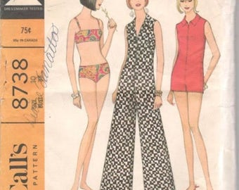 McCalls 8738 1960s Misses Two Piece Swimsuit and Zip Front Romper Jumpsuit Pattern Womens Vintage Sewing Pattern Size 10 Bust 31 UNCUT
