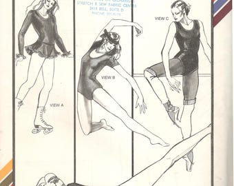 Stretch & Sew 317 1980s Misses Leotard and Skating Dress Pattern Exercise Gymnastics Dance Womens Vintage Sewing Pattern Bust 28 - 44 UNCUT