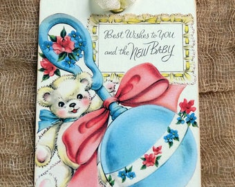 Vintage Style For You & New Baby Rattle Teddy Bear Gift or Scrapbook Tags or Magnet #374