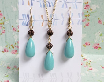 Turquoise Blue Teardrop Necklace Earrings Set, Gold Plated, Bronze Beads, Boho Jewelry