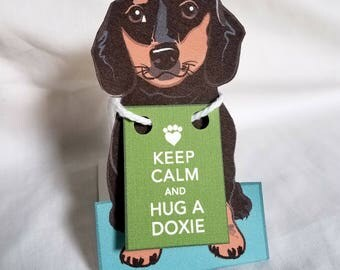 Keep Calm Black Dachshund - Desk Decor Paper Doll